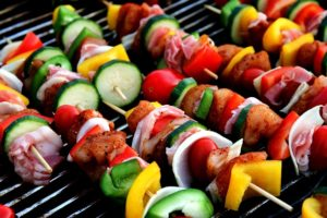 grilled veggie and meat skewers for customizable meals