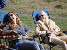 2 women nurture good health with sunshine & laughter