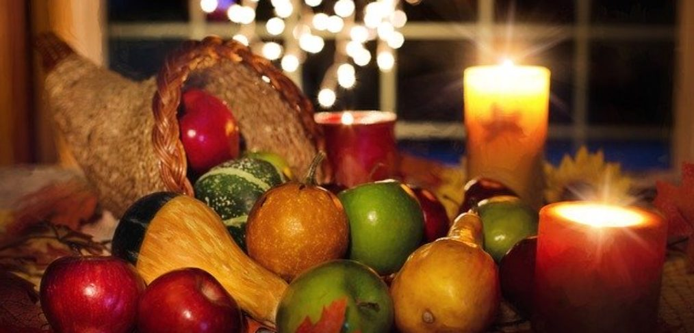 A cornucopia of unprocessed Thanksgiving food.