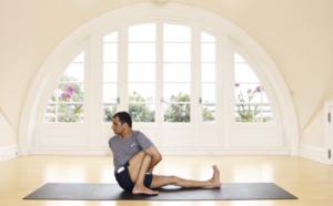 Twisting yoga pose for bloat