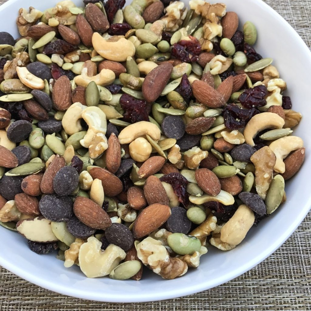 heart healthy trail mix of cashews, almonds, pumpkins seeds and cacao nibs